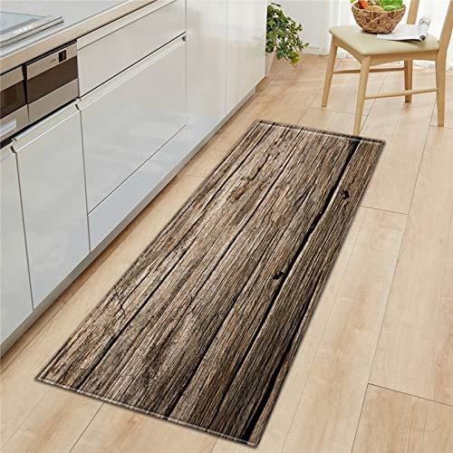 HLXX Alfombra de cocina de grano de madera para dormitorio, entrada, pasillo, alfombra antideslizante A2, 50 x 160 cm