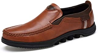 HongJie Hou Oxford Shoes for Men Formal Shoes Slip On Style Genuine Leather Fashion Stitching Handtailor Round Toe (Color : Light Brown, Size : 10.5 UK)