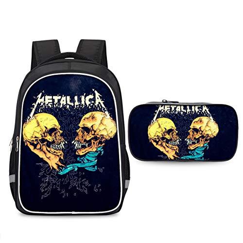 Metallica Beliebte Stile Rucksack Rucksack Set 2 Stück Casual Rucksack + Bleistiftkasten Trendy Design Reisetasche Multicolor Daypack Kompakte und leichte Schultasche Sportwandertasche Kinder