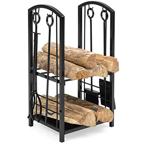 Best Choice Products 5-Piece Wrought Iron Firewood Log Storage Rack Holder Tools Set for Fireplace,...