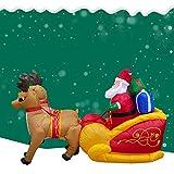 LINAG LED Decoracion Navidad Inflable para Las Decoraciones de la Navidad, Papá Noel con Trineo Renos Hinchable Inflable Decoración de Exterior,A,1.3M