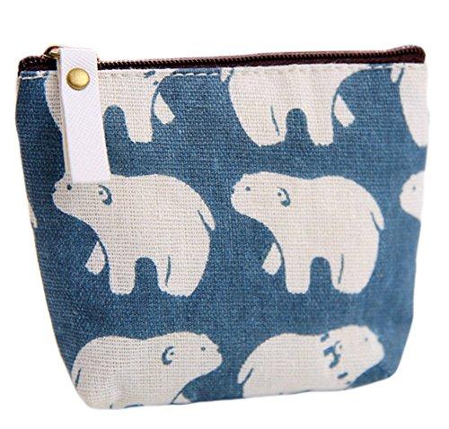 Dosige 1 stuks portemonnee met ritssluiting, voor dames, mini-portemonnee, sleutels, kaarten, portemonnee, linnen, lippenstift, motief ijsbeer grootte 11,5 x 9,5 cm (blauw)