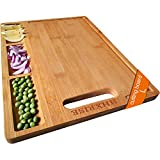 HHXRISE Large Organic Bamboo Cutting Board For Kitchen, With 3...