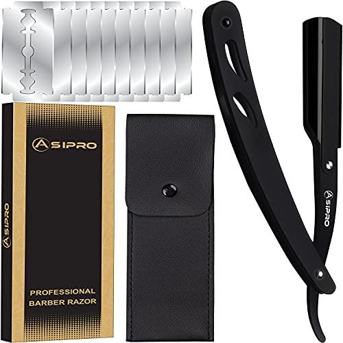 ASIPRO Navaja de Afeitar Barbero con 10 Cuchilla Afeitar Barbero y Estuche de Almacenamiento Clásica Navaja Peluqueria Profesional
