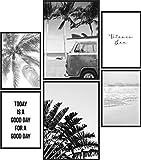Papierschmiede® Mood-Poster Set Beach Schwarz-Weiß  