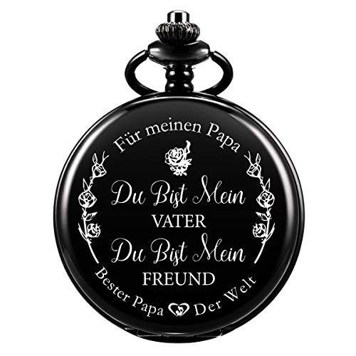 ManChDa Gravierte Taschenuhr für Papa Geschenk, Vintage Taschenuhren mit Kette für Männer, Geburtstagsgeschenk, Schöne Geschenke für die Familie