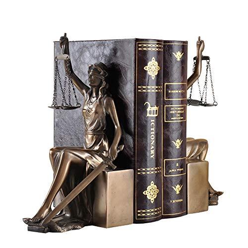 MRZHW Diosa de la Justicia Estatua Creativo Resina Sujetalibros Clásico Figura de balanza Estatua Trabajo Manual Manualidades de decoración para Sala de Oficina- Dorado