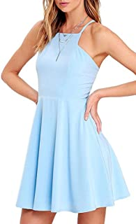 Women's Cute Spring Midi Sleeveless Swing Shift Light Blue/Red Wedding Skater Dress