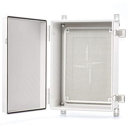QILIPSU Junction Box With Mounting Plate 370x270x150mm, Hinge Door Dustproof Box ABS Plastic DIY Electrical Project Case IP67 Waterproof Enclosure Grey (14.6