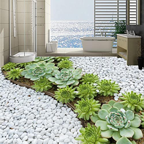 Papel tapiz mural autoadhesivo personalizado para suelo 3D estéreo adoquines Cactus baño impermeable azulejos pegatina-200 * 140 cm