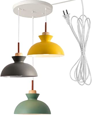 STGLIGHTING No Drilling 3 Lights Macaron Swag Pendant Light with 15ft Plug  in UL Cord Island Chandelier Pendant Lighting Fixtures Hanging Ceiling  Light for Kitchen Island Staircase NO Wiring Needed - - Amazon.comAmazon.com