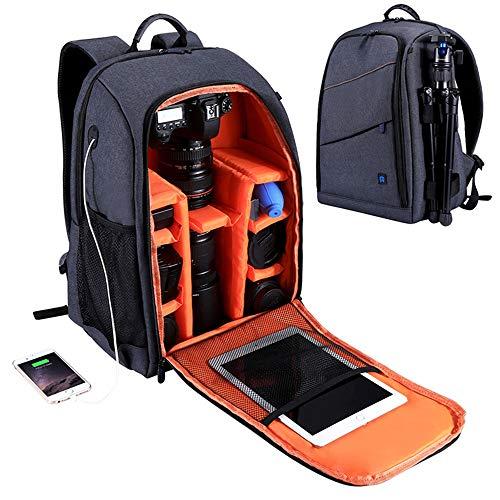MMLC Wasserdicht SLR Tasche Kamera Tasche Rucksack für Canon EOS Nikon Sony, Umhängetasche (Gray)