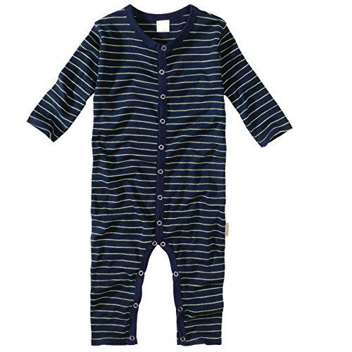 wellyou, Schlafanzug, Pyjama für Jungen und Mädchen, Einteiler langarm, Baby Kinder, marine neon-gelb gestreift, geringelt, Feinripp 100% Baumwolle, Größe 56-62,
