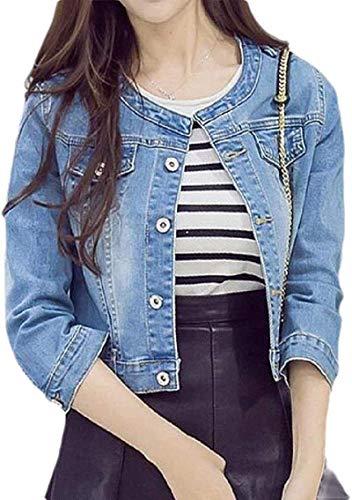 CHEXPEL Womens 3/4 Sleeve Regular Fit Round Neck Classic Short Crop Denim Jacket Coat Outerwear