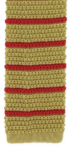 Michelsons of London Jaune/rouge soie tricoté rayé maigre cravate de