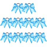 Large Cheer Bows Blue Painting Ponytail Holder Girls Elastic Hair Ties 6' 10PCS Light Blue Hair Accessories for Teens Women Girls Softball Competition Sports Cheerleaders