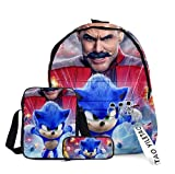 Amacigana Sonic - Mochila escolar para hombre y niño, bolso de hombro, estuche, mochila escolar, mochila escolar, juego de 3 piezas (Sonic 2, L)
