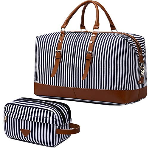 IBLUE Oversized Canvas Genuine Leather Trim Travel Tote Duffel Shoulder Weekend Bag Weekender Overnight Carryon Handbag Durable Bag