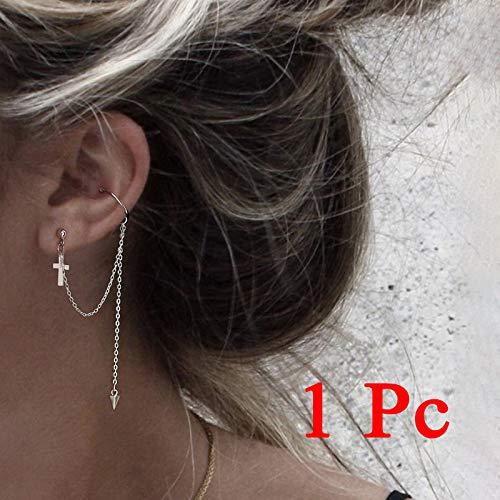 Pendientes largos de cristal de borla larga para mujer, pendientes de moda de regalo 2021 (color metal: 1 pieza cruz)