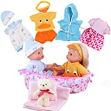 Young Buds 8pcs for 9-10-11 Inch Alive Baby Doll Clothes Dress Reborn Newborn Baby Doll Accessories Gown Costumes Outfits with Cradle Carry Bag Pillow Sheet Quilt Gift-wrap