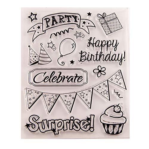 Gelukkige Verjaardag Ballon Cake Verrassing Verjaardagsfeest Heldere stempels Clear Stempel/Seal Scrapbook/Foto Decoratieve Kaart maken Clear Stempel