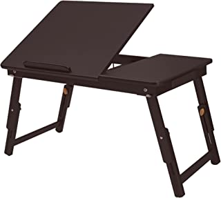 SONGMICS Multi Function Lapdesk,Adjustable Bed Tray,Foldable Breakfast Table Tilting Top with Storage Drawer for Surfing R...