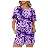 Aniywn Women's Two Piece Tie Dye Printed Pajamas Set Summer Casual Crewneck Short Sleeve Top and Shorts Outfits Purple