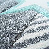 carpet city Kinderteppich Flachflor Bueno Sterne Muster Mint Türkis Konturenschnitt Glanzgarn Kinderzimmer; Größe: 160×230 cm - 5
