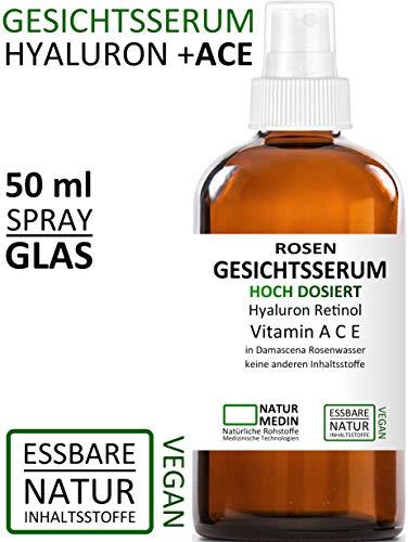 Rosenwasser GESICHTS-SERUM 50ml, Hyaluron-säure Vitamin A C E Retinol, Hochdosiert All-in-1 anti-aging Falten Augen-Gel Serum, 100% naturrein und essbare Inhalsstoffe, Spray Glasflasche, nachhaltig