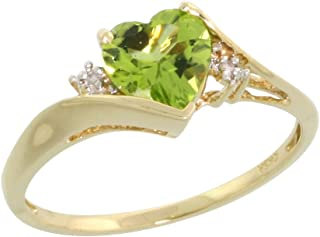 10k Gold Heart Stone Ring w/ 1.50 Total Carat Heart-shaped 7mm Peridot Stone & Brilliant Cut Diamonds