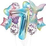 Cymeosh Juego de globos con forma de sirena, 7 años, decoración de cumpleaños para niñas, globos gigantes con el número 7, decoración para cumpleaños infantil, 7 niñas, color lila