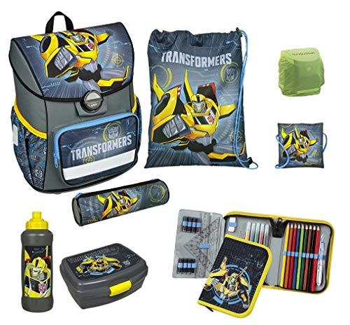 Familando Transformers Schulranzen-Set 8-TLG. Scooli Cosmos mit Federmappe gefüllt Dose Flasche und Regenschutz
