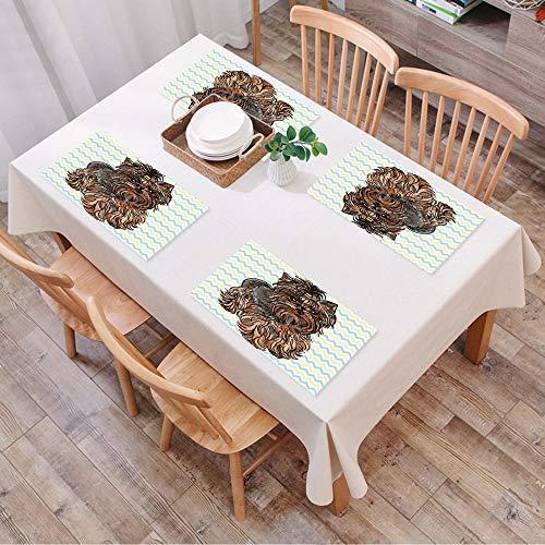 Set de Table Antidérapant Lavable Résiste à la Chaleur Rectangulaire Sets de Table pour Restaurant,Yorkie, mignon marron Yorkie avec une,Table à Manger en Cuisine ou Salle à Manger, 45x30 cm Lot de 4