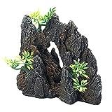 Decoración de paisajismo de acuario, Simulación de piedra Rockery Art Craft Figurine Escultura Acuario Fish Tank Ornamento Betta Fish Pequeño Camarón Tortuga Casa Para Dormir Resto Ocultar