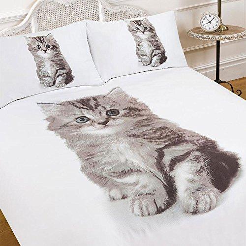 Dreamscene Duvet Cover with Pillow Case 3D Sweet Kitten Animal Print - Double Size Quilt Bedding Set