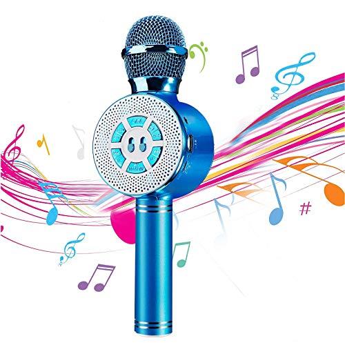 Micrófono inalámbrico de karaoke, micrófono Bluetooth portátil para niños con altavoz y luces LED, altavoz portátil con reproductor de micrófono para fiesta de cumpleaños de Navidad (AZUL)