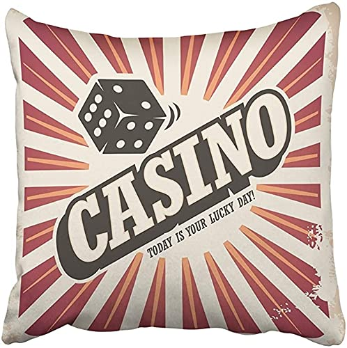 Throw Pillow Cover 18X18 Pulgadas Poliéster Dados Diseño Retro para Juegos de Casino Vintage Ad Document Wall Vegas Sign Play Abstract