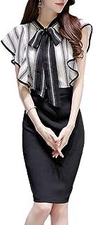 [アイラカリラ] ルーシー リボン ワンピース フレア パーティー ドレス ノースリーブ タイト ひざ丈 コンサバ セーラー レディース
