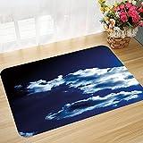 Alfombra de baño y Alfombra Antideslizante 45 * 75 cm Azul Oscuro, Cielo y Nubes dramáticas Fenómenos Naturales Atardecer Amanecer Tema Majestuoso, Azu Apto para Cocina, salón, Ducha, etc.