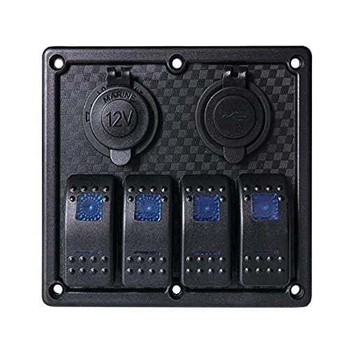 JIAQING Panel de interruptor de encendido de barco de 4/3 bandas para coche, impermeable, con fusible de 3,1 A, cargador USB doble, para RV, camión, color (producto B)