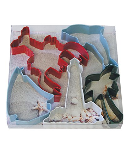 R&M International 1960 Beach Cookie Cutters, Lobster, Dolphin, Sailboat, Lighthouse, Palm Tree, 5-Piece Set