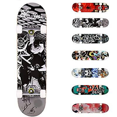 """WeSkate Complete Skateboards 31""""x8"""" with Double Kick Deck Standard Skateboard for Beginner, Kids Aged 5 and UP, 7 Layer Maple Wood Construction Trick Skater Board"""