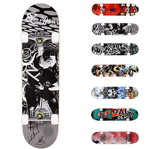 WeSkate Planche à roulettes pour Les débutants, 31 x 8'' Complète Skateboard 7 Plis Double Kick Concave Planche de Skate Anti-Dérapant Roues PU pour Les Enfants Jeunes et Adultes (Noir Blanc)