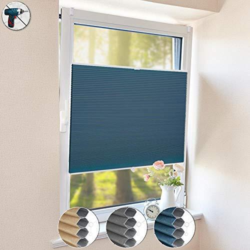 HOMEDEMO Wabenplissee Klemmfix Verdunkelung Thermo Plisseerollo mit Klemmträger (Weiß-Blau, 60x200cm), Zweifarbig plisseerollo 100% Verdunklung, Sichtschutz und Sonnenschutz für Fenster und Tür