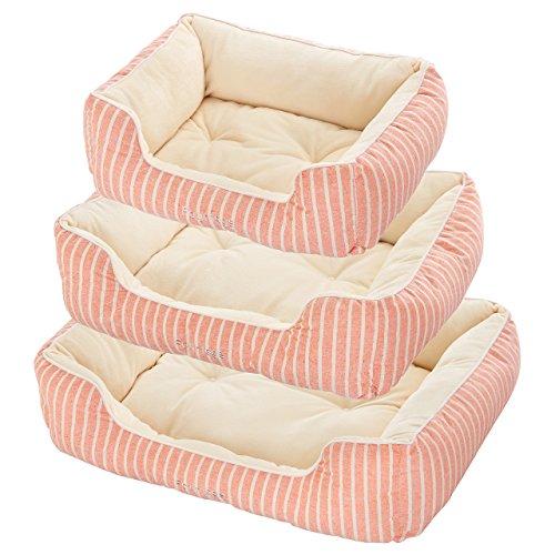 【犬 猫 ペット ベッド】Four Legs スクエアベッド (S, オレンジ)
