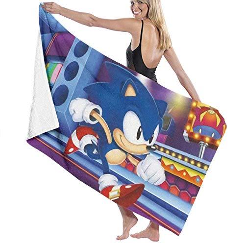 FSTGFFST Sonic-Mania Toalla de playa de algodón absorbente toallas de baño de secado rápido para mujeres, niños y hombres