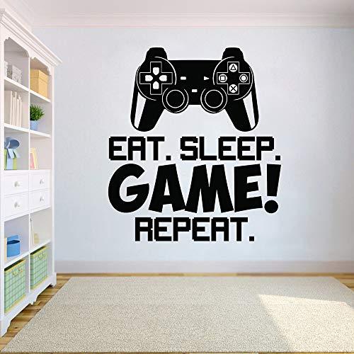 Controlador de juego de video Etiqueta de la pared Coma el juego del sueño Repita Tatuajes de pared Arte de la pared Niños Habitación Decoración Gamer Póster de pared de vinilo 57x64 cm