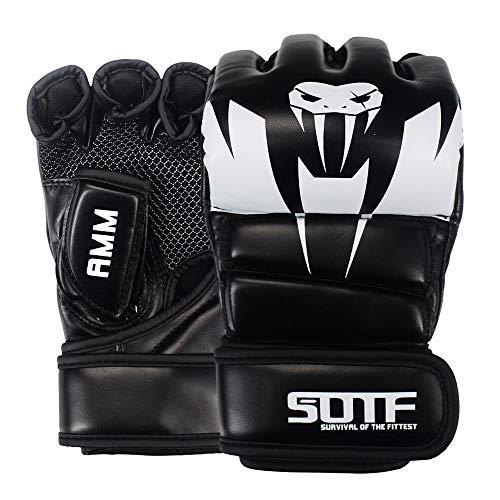 SOTF - Guantes de Boxeo para Artes Marciales Mixtas (Gasa Transpirable), Large, Blanco