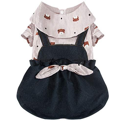 COLOGO ペット服かわいいドレスデニム小型犬中型犬ドッグウェアワンピース秋冬ファッションスカート人気犬洋服(グレー、XS)