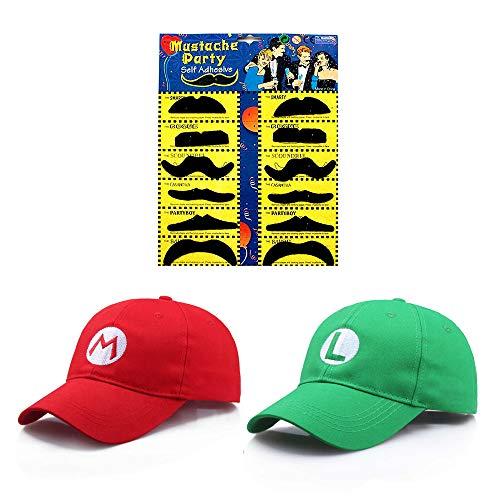 JOYINGLE Fashion Super Mario Bros Hat Baseball Cap Unisex Costume Cosplay Halloween Hat for Adult Kids (Red and Green) 2Pcs
